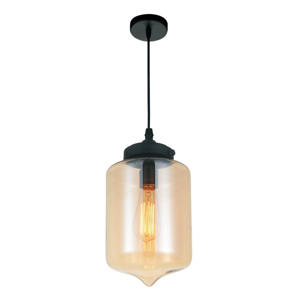 Glass 1-Light Transparent Cognac Pendant