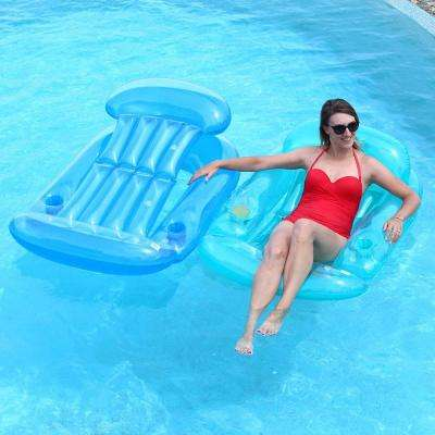 Blue and Teal Swimming Pool Sun Lounge Combo (2-Pack)