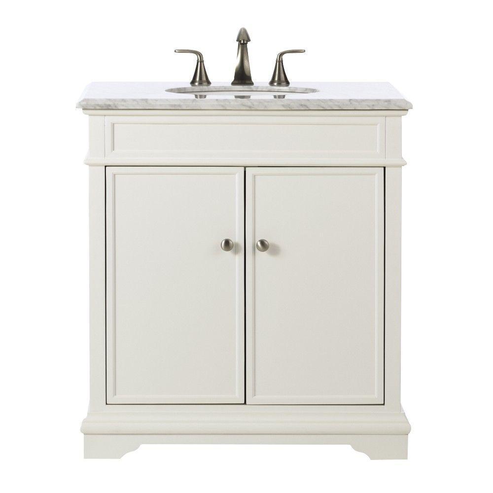 Belvedere 31 in. W x 22 in. D Bath Vanity in White with Natural Marble Vanity Top in Grey