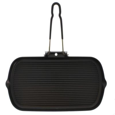 French Enameled 14 in. Cast Iron Grill Pan in Black