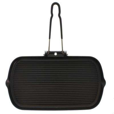 14 in. Rectangular French Cast Iron Grill with Folding Handle