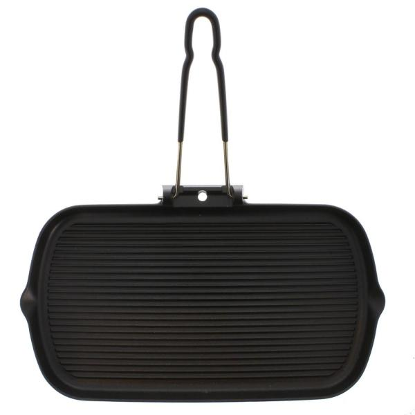 Chasseur 14 in. Rectangular French Cast Iron Grill with Folding Handle