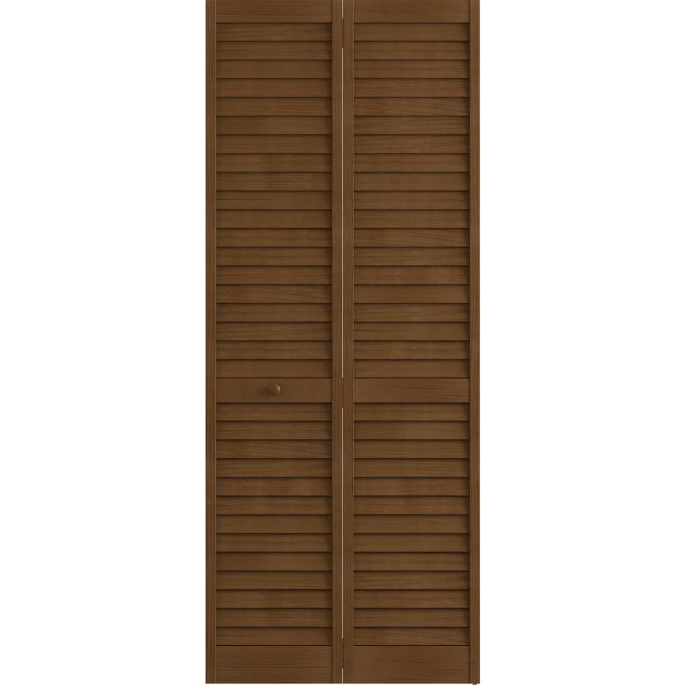 Frameport 36 in. x 80 in. Louver Pine Espresso Plantation Interior Closet Bi-fold Door
