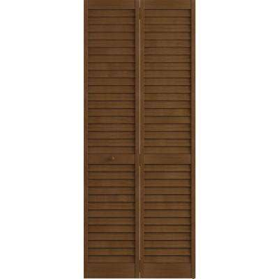 36 in. x 80 in. Louver Pine Espresso Plantation Interior Closet Bi-fold Door