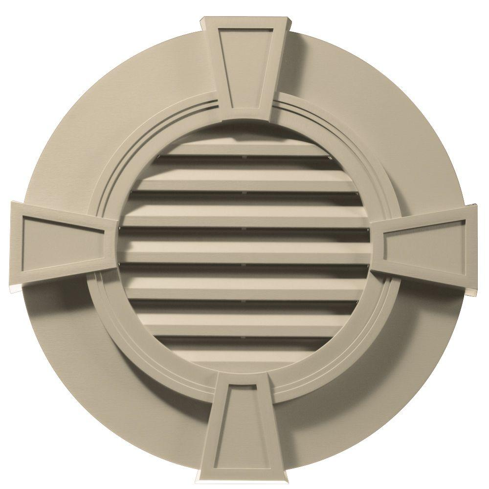 Builders Edge 30 in. Round Gable Vent with Keystones in Sandalwood