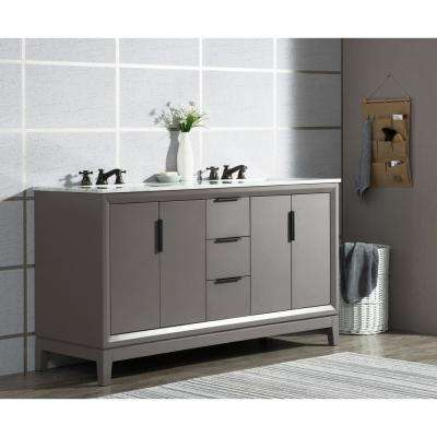 Elizabeth 60 in. Cashmere Grey With Carrara White Marble Vanity Top With Ceramics White Basins