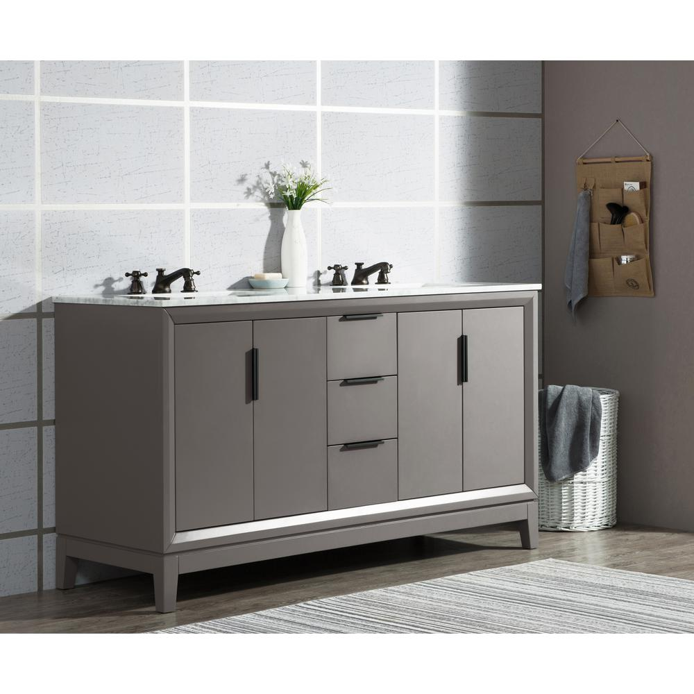 Water Creation Elizabeth 60 in. Cashmere Grey With Carrara White Marble Vanity Top With Ceramics White Basins and Mirror and Faucet