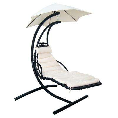 Island Retreat Outdoor Hanging Metal Patio Lounge with Shade Canopy in Canvas Beige
