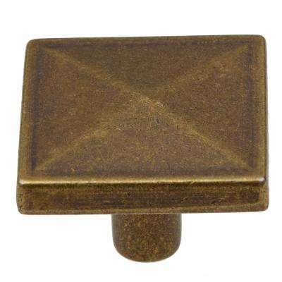 1-1/4 in. Antique Brass Square Pyramid Cabinet Knob (10-Pack)