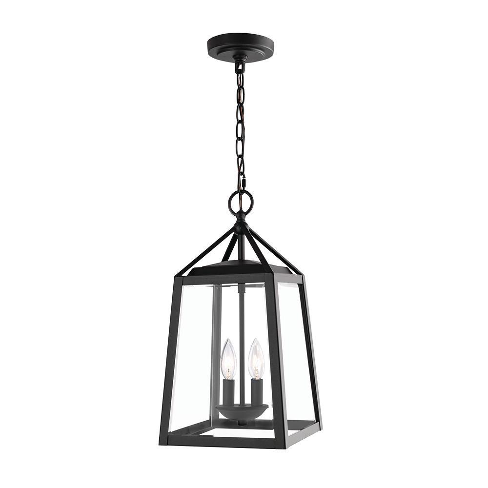 Transitional 2-Light Black Outdoor Pendant