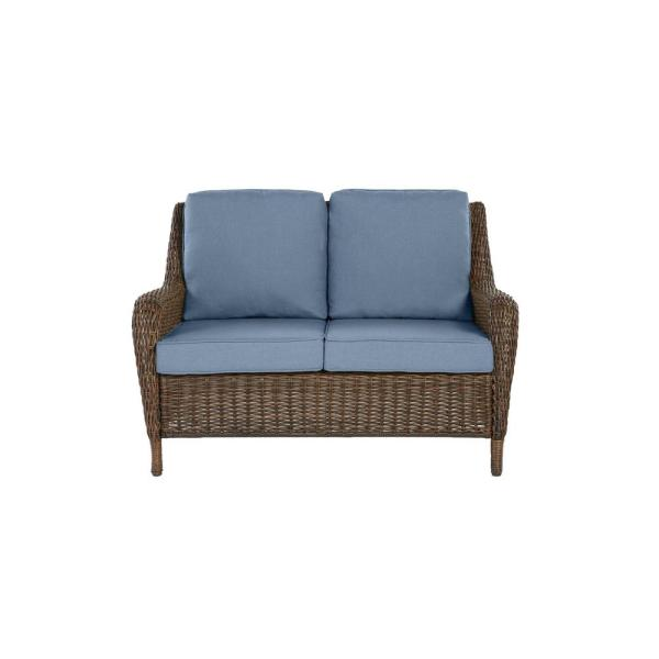 Cambridge Brown Wicker Outdoor Patio Loveseat with Sunbrella Denim Blue Cushions