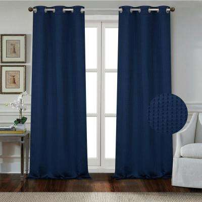 """Day to Night Times Square Blackout Noise Reducing Grommet Curtain Panel Pair, 38""""x84"""" Each(76""""x84"""" Total), Marine Blue"""
