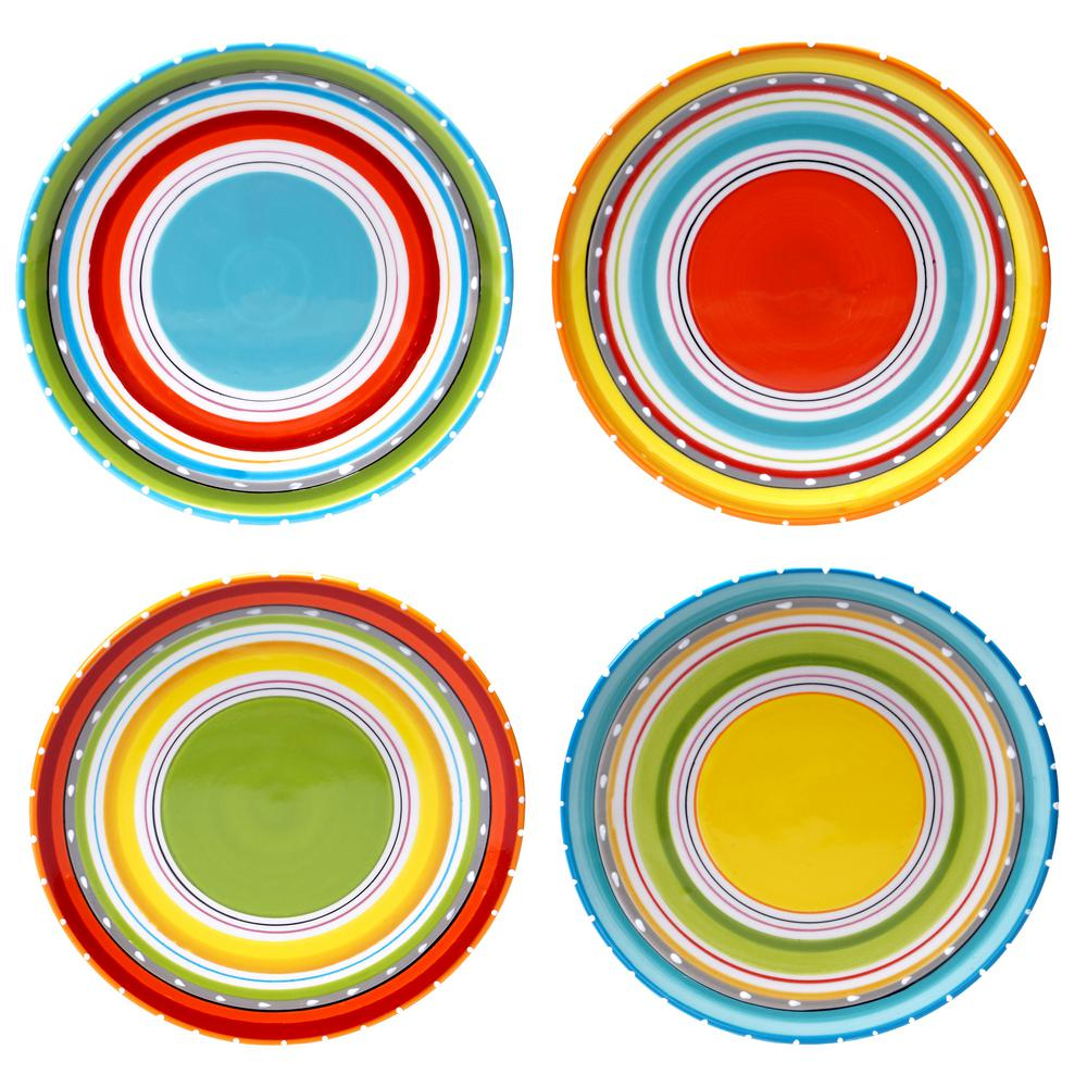 Certified Intl Mariachi Multi-Colored Canape Plate Set (S...