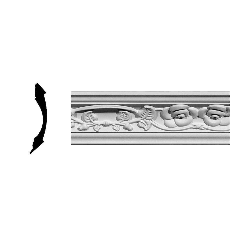 Ekena Millwork 3-1/8 in. x 3-1/8 in. x 94-5/8 in. Polyurethane Rose Crown Moulding