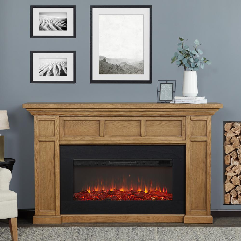 Alcott Landscape 75 in. Freestanding Electric Fireplace in English Oak