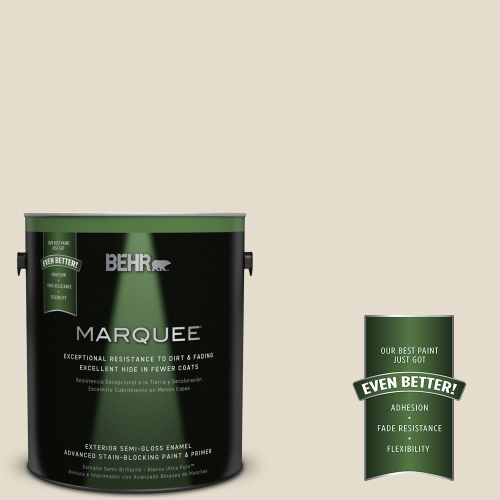 BEHR MARQUEE 1 gal. #MQ3-40 Varnished Ivory Semi-Gloss Enamel Exterior Paint