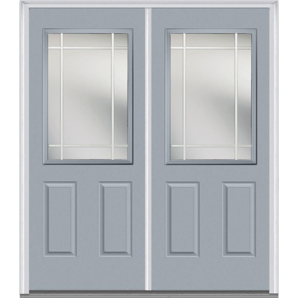 Mmi Door 64 In X 80 Prairie Internal Muntins Right Hand Inswing 1 2 Lite Clear Painted Fibergl Smooth Prehung Front