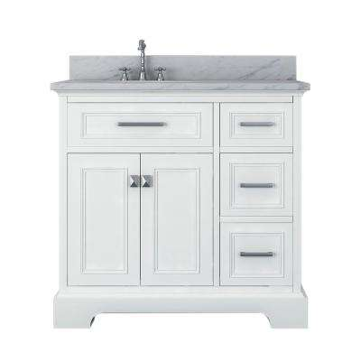 Laxton 37 in. W x 34 in. H Bath Vanity in White with Marble Vanity Top in White with White Basin