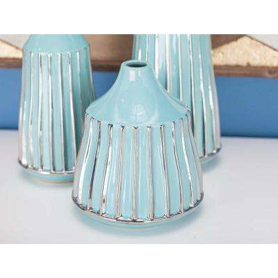 8 in. Glazed Blue and Silver Ceramic Decorative Vase