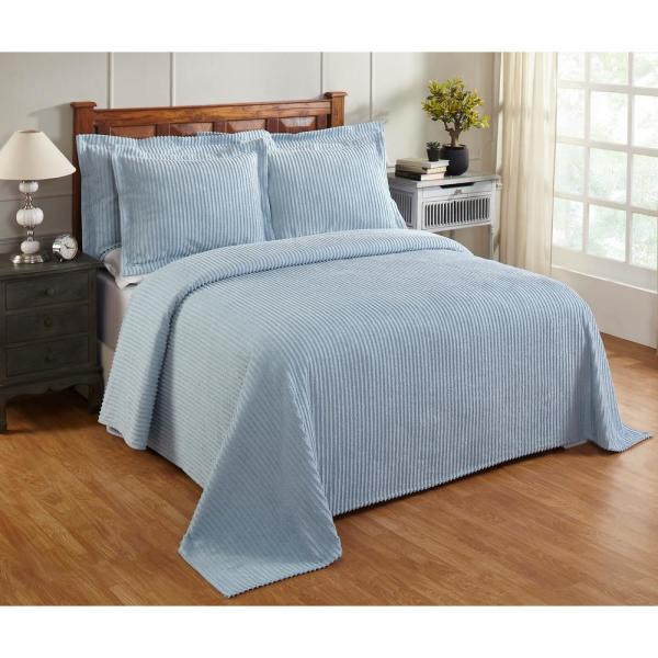 Julian Collection in Solid Stripes Design Blue Queen 100% Cotton Tufted Chenille Bedspread