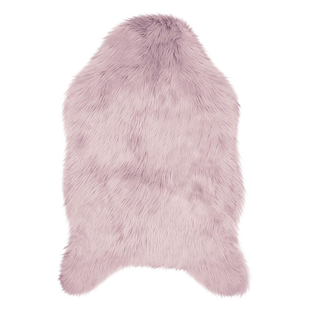 Jean Pierre Faux-Fur 3 ft. x 2 ft. Area Rug, Dusty Lilac