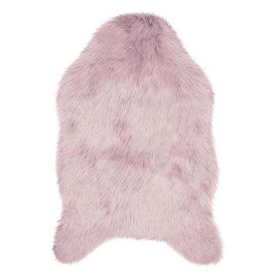 Faux-Fur 3 ft. x 2 ft. Area Rug, Dusty Lilac