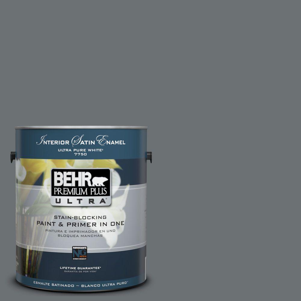 BEHR Premium Plus Ultra 1-Gal. #UL260-21 Antique Tin Interior Satin Enamel Paint