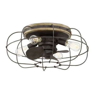 Junction 22 in. Indoor Charred Iron Ceiling Fan with Light and Remote Control