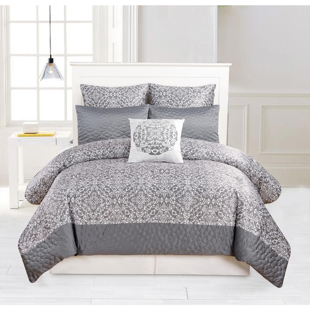 Ashlea 10 Piece Oversize/Overfilled Queen Comforter Set in Grey