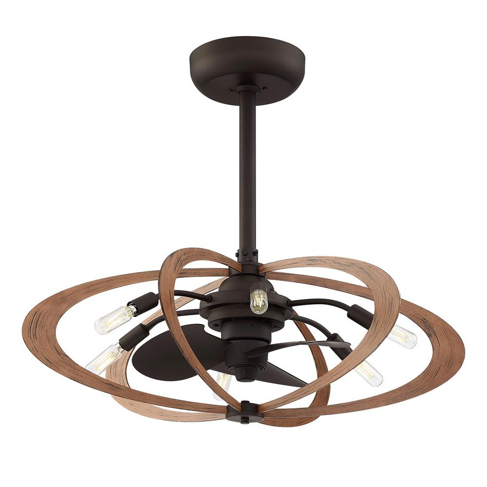 Fifth and Main Lighting Aspect 27.5 in. Indoor Aged Bronze with Wood Grain Ceiling Fan with Light and Remote Control