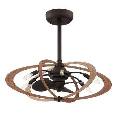 Aspect 27.5 in. Indoor Aged Bronze with Wood Grain Ceiling Fan with Light and Remote Control