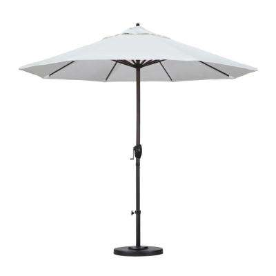 9 ft. Aluminum Auto Tilt Patio Umbrella in White Olefin