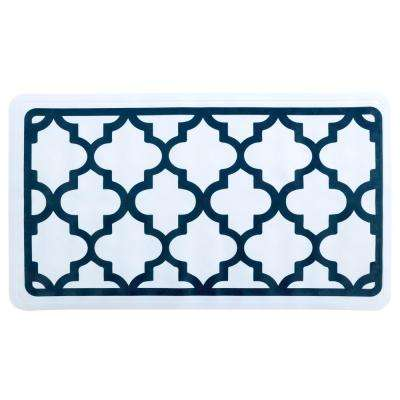 15 in. x 27 in. White and Navy Moroccan Bath Mat