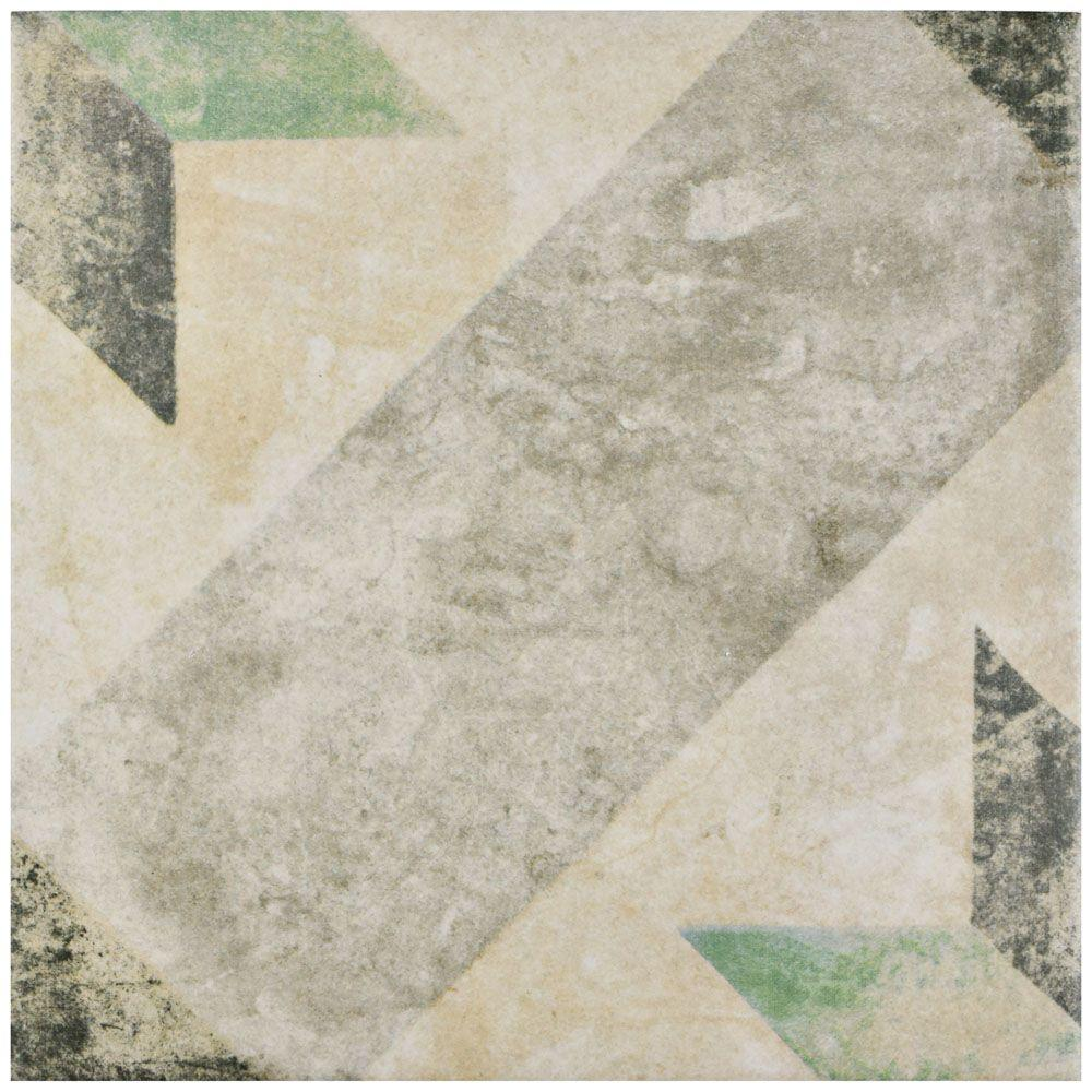 Merola tile pompei star green 9 3 4 in x 9 3 4 in for 10 x 10 ceramic floor tile