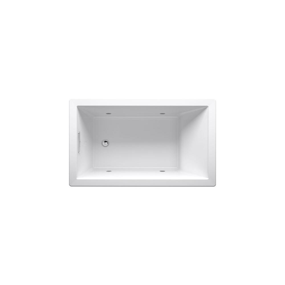 KOHLER Underscore 5 ft. Rectangle VibrAcoustic Reversible Drain Bathtub in White