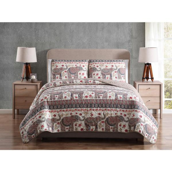 Morgan Home Printed 3 Piece Reversible Quilt Set with Shams