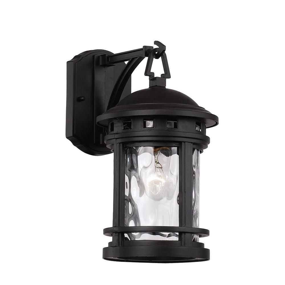 Bel Air Lighting Medium 1 Light Black Outdoor Wall Mount Sconce With Clear Gl