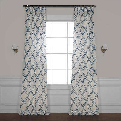 Normandy Blue Printed Sheer Curtain - 50 in. W x 84 in. L