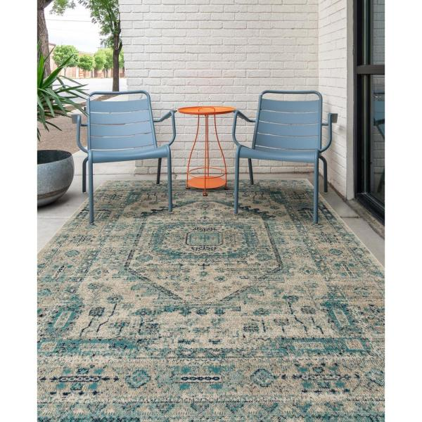 Kaleen Zuma Beach Collection Turquoise 3 Ft 11 In X 5 Ft 3 In Rectangle Indoor Outdoor Area Rug Zum10 78 31153 The Home Depot