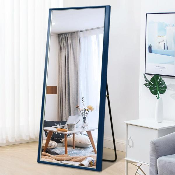 Dark Blue Elegant Frame with Silver Edge Large Full-length Floor Mirror Rectangle Wall Mirror Living Room