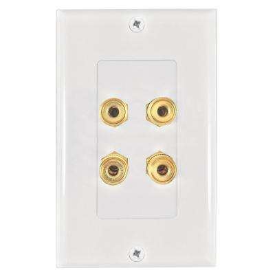 4-Banana Plug Wall Plate, White