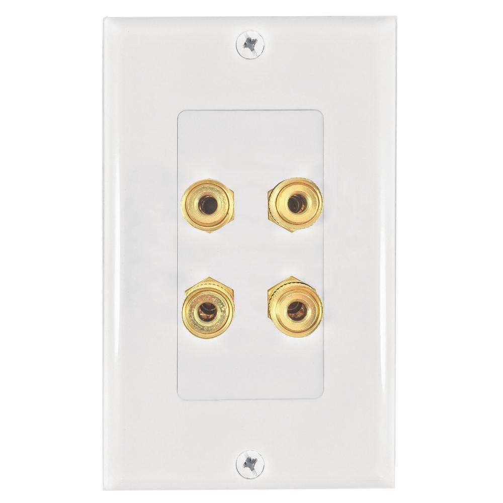 4-Banana Plug Wall Plate, White