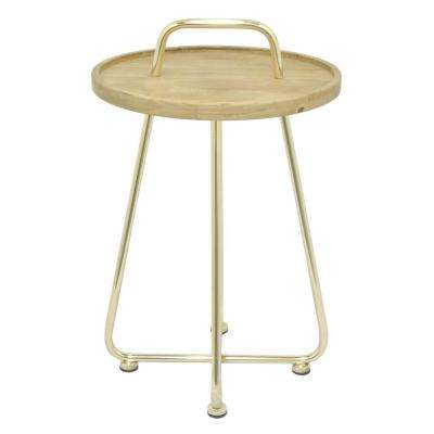 Black Wood and  Metal Side Table Natural Wood Top With Gold Legs and  Handle