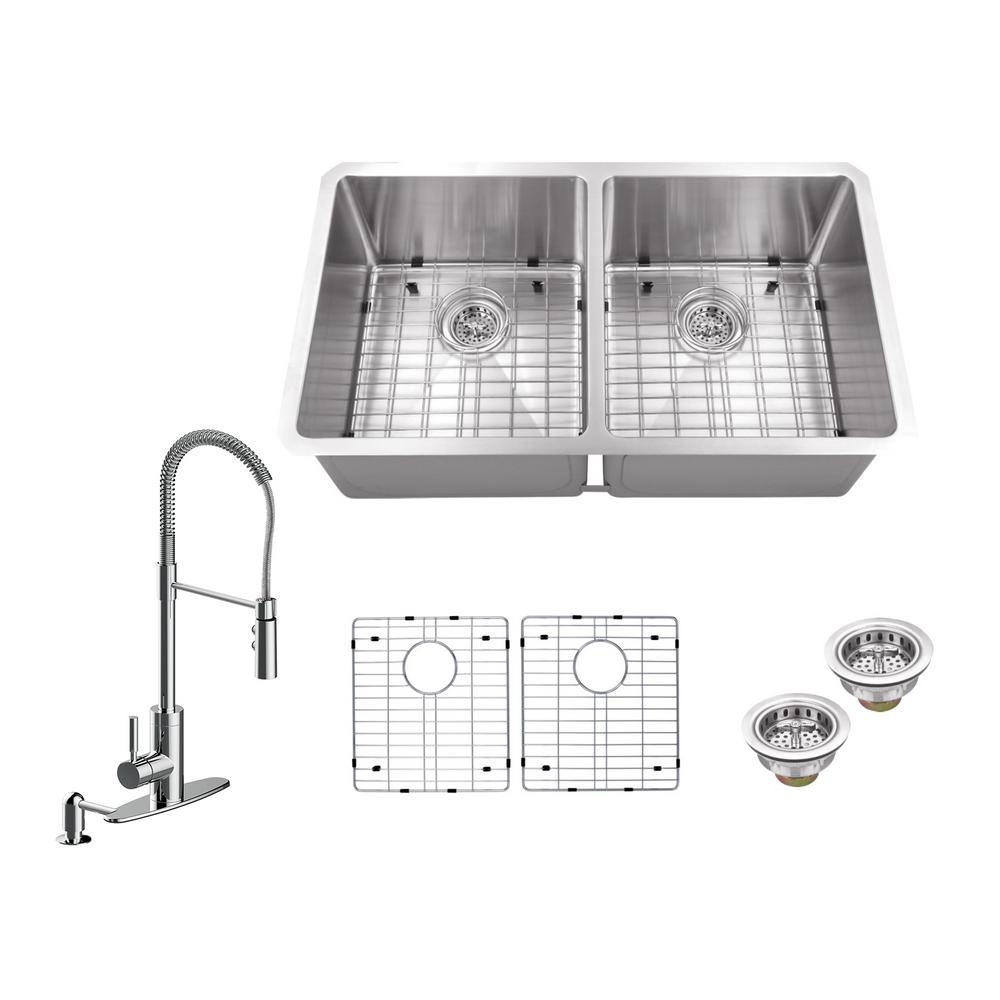 All-in-One Undermount Stainless Steel 32 in. 50/50 Double Bowl ...