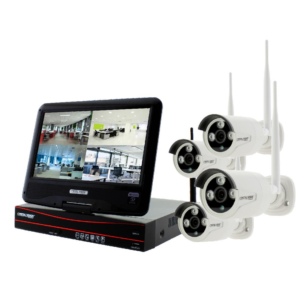 4-Channel True HD 2TB HDD Wireless CCTV with 4-Autopair Weatherproof IR Cameras Built-In Monitor and Router