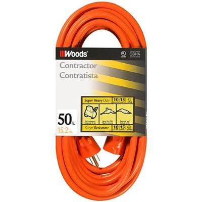 50 ft. 10/3 SJTW Outdoor Heavy-Duty Extension Cord, Orange