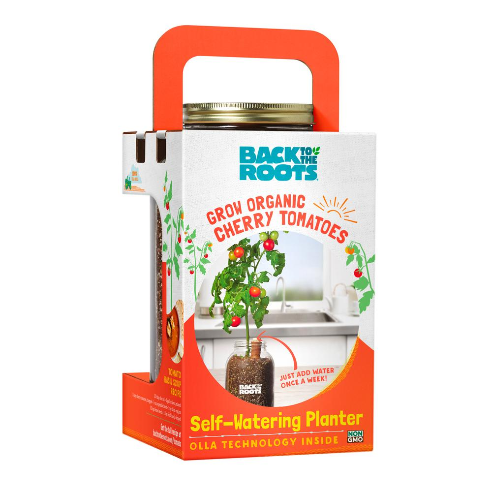 Back To The Roots Self Watering Planter Organic Cherry Tomato Plant 25100 The Home Depot