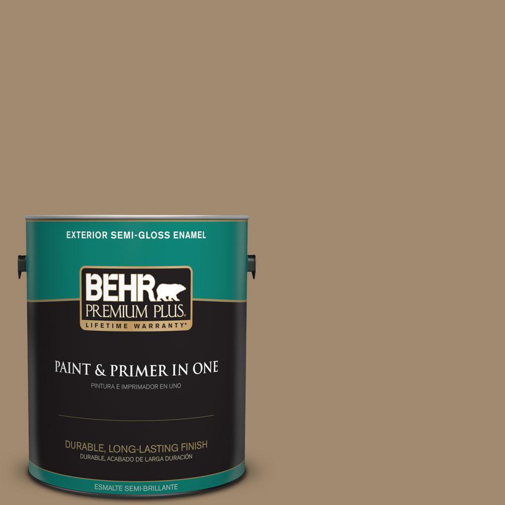BEHR Premium Plus 1-gal. #PMD-102 River Mud Semi-Gloss Enamel Exterior Paint