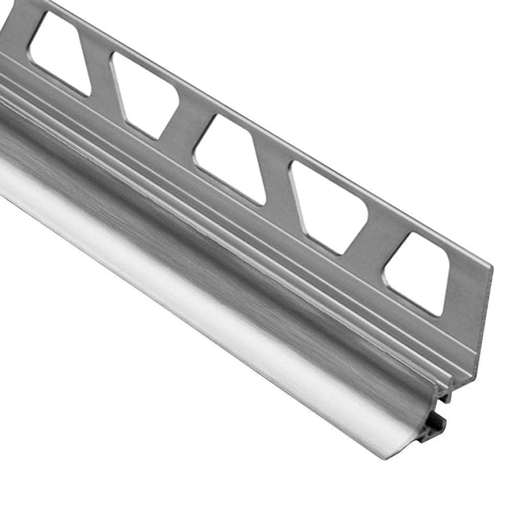 Dilex-AHKA Brushed Chrome Anodized Aluminum 9/16 in. x 8 ft. 2-1/2 in. Metal Cove-Shaped Tile Edging Trim