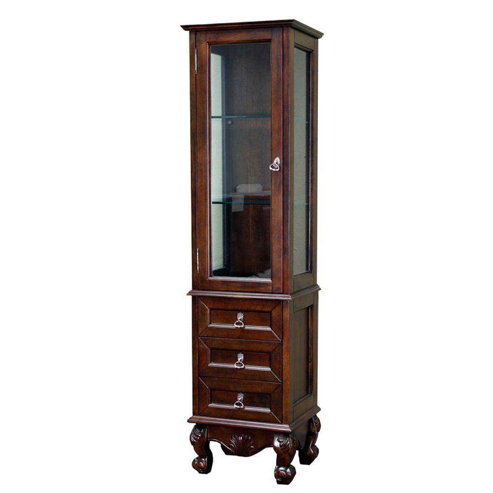 Bellaterra Home Bevington 18 in. W x 67 in. H x 14 in. D Bathroom Linen Storage Cabinet in Walnut